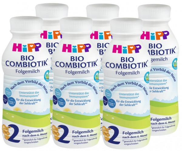 Hipp Bio Combiotik 2 leche lista para beber, 470ml, paquete de 6 (=6 x 470ml)