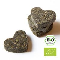 Tee-Herzen in der Dose, grüner Bio-Tee
