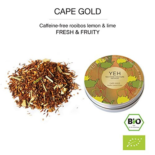 """Cape Gold"", 35g tin Rooibos tea flavoured with lemon and lime"