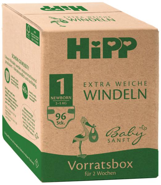 Pañales extra suaves Hipp baby Recién nacido 1 caja de almacenamiento, tamaño 50-56, 2-5kg, 4x24 pañales