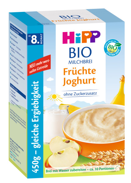 Hipp organic milk porridge fruit yoghurt from the 8th month, 450g