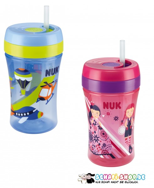 NUK Easy learning fun Cup 300ML Soft-Trinkhalm-Becher