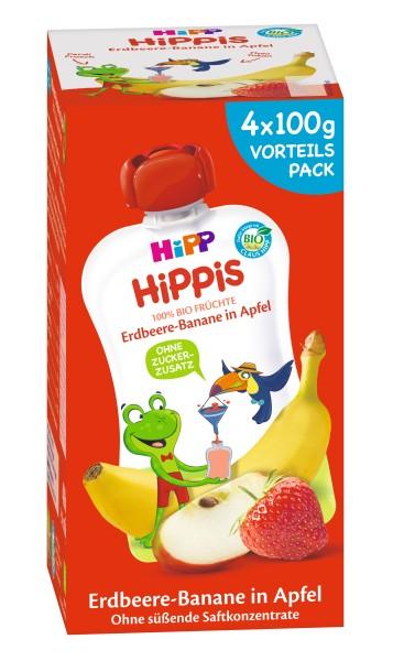 Hipp Hippis - Fredi Frosch Quetschbeutel Erdbeer-Banane in Apfel 4 x 100g