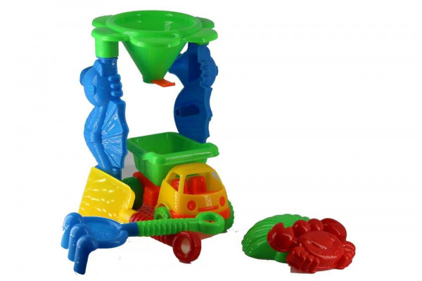 Sand play set 6 pieces approx. 20x13cm with truck and 2 moulds
