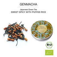 Genmaicha, 45g lata orgánica Genmaicha, té verde con arroz integral