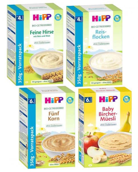 Hipp Bio Brei Mix, Feine Hirse 350g, Bircher-Müesli 250g, 5-Korn 350g und Schmelzende Reisflocken