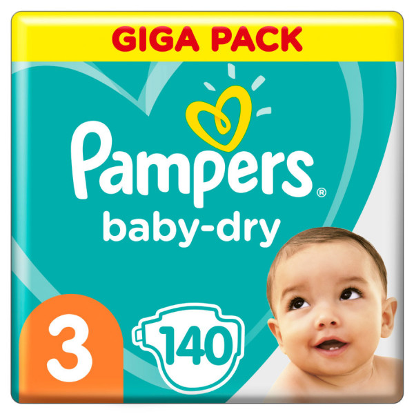 Pampers BabyDry size 3 (Midi) Giga-Pack 4-9kg, 140 diapers