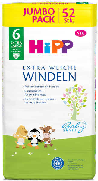 Hipp Babysanft extra weiche Windeln Extra Large 6 Vorratsbox, Größe 98+, 15kg+, 3x52 Windeln