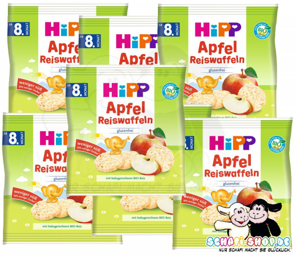 Hipp organic apple rice waffles 30g, 7-pack (7x30g)