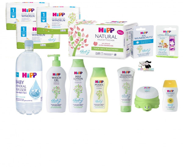Hip big Newborn set, consisting of wound protection, creams, oil, washing gel, wet wipes, diapers and much more