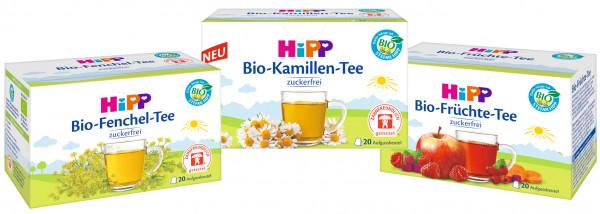 Hipp té orgánico mega-mix: hinojo orgánico, manzanilla orgánica y fruta orgánica, 20 bolsas cada uno