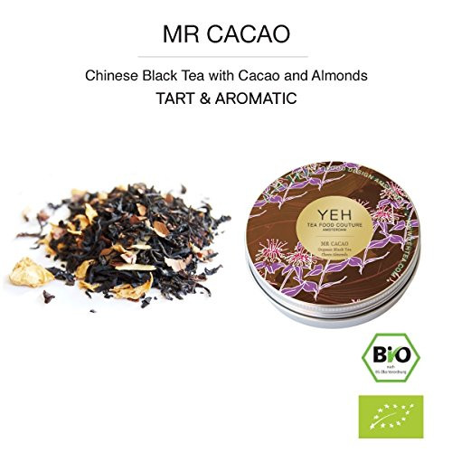 """Mr Cacao"", 35g tin of black organic tea flavoured with cocoa beans and others"