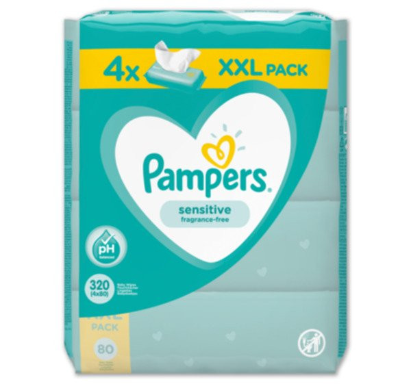 Pampers Moist Wipes Sensitive, 4x80 wet wipes