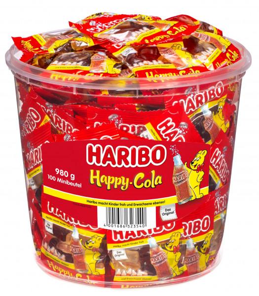 Haribo Happy Cola Mini-Bag Boîte ronde 100 Mini-Bag, 980g