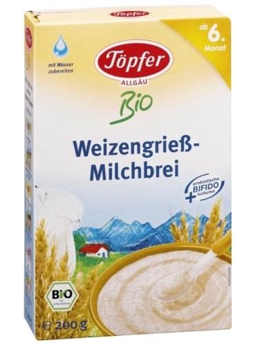 Töpfer Bio-Weizengrieß-Milchbrei ab dem 6. Monat, 200g
