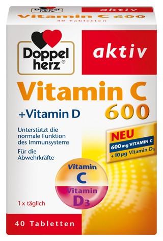 Doppelherz; Vitamin C; C 600; Tabletten; Nahrungsergänzung