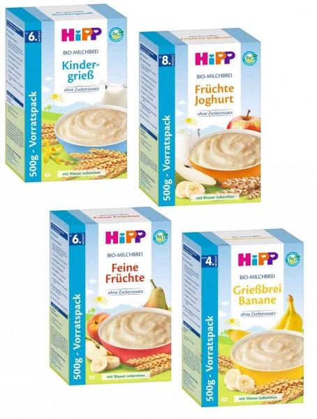 Hipp Bio Milchbrei Mix, 4 Sorten bestehend aus Kindergrieß, Feine Früchte,Banane und Früchte Joghurt