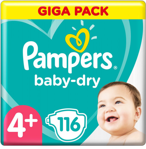Pampers BabyDry talla 4+ (Maxi) Giga Pack 9-20kg, 116 pañales