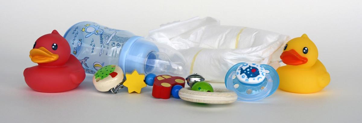 Baby Spielzeug, Flasche, Windel