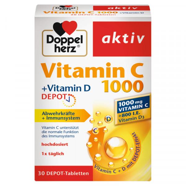 Doppelherz Vitamin C 1000 + Vitamin D Depot, 30 Tabletten