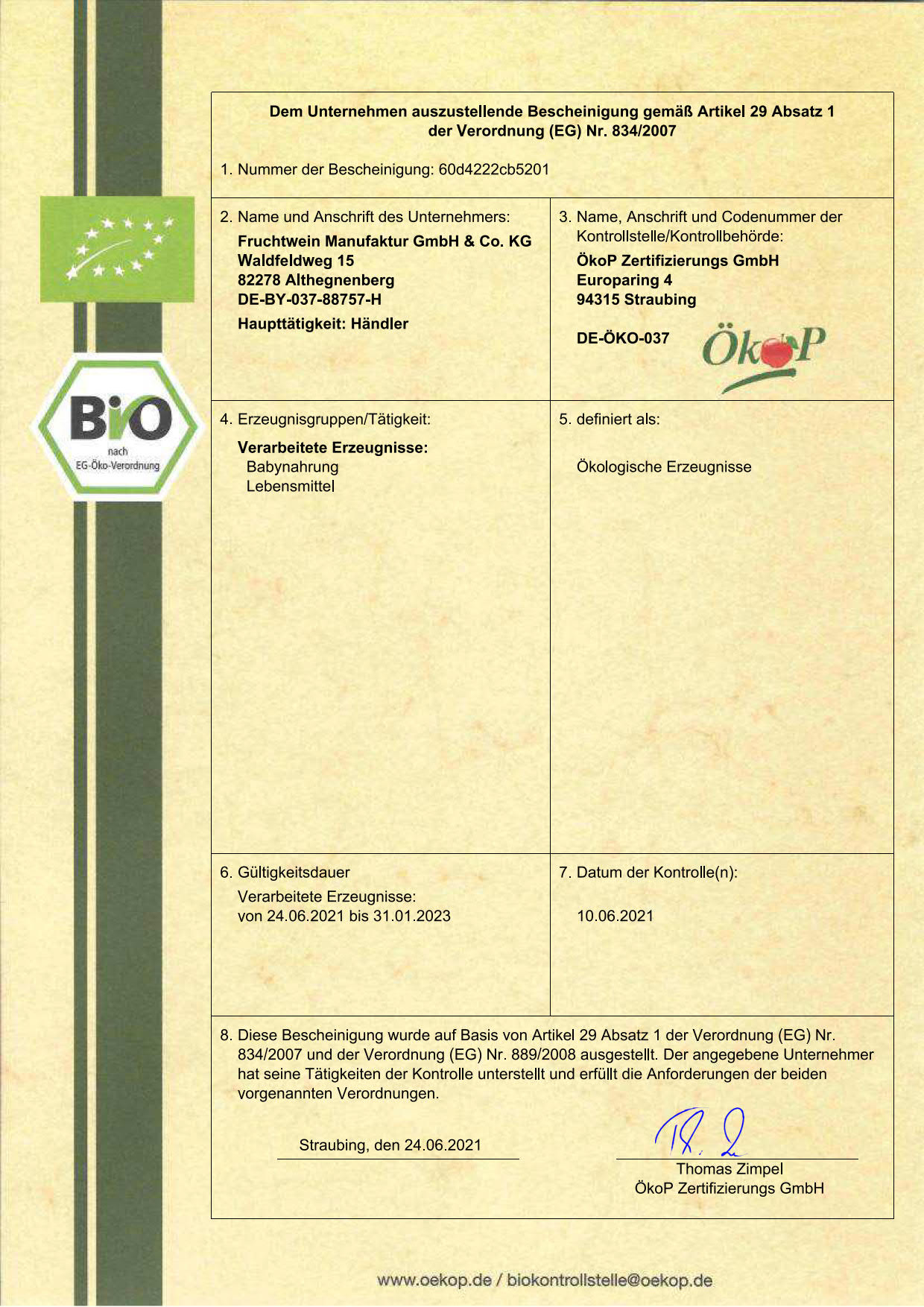 Certificato biologico Schafi-Shop