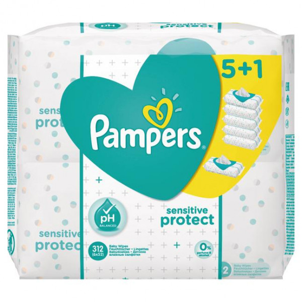 Pampers Feuchte Tücher Sensitiv Protect, 6x52 Tücher