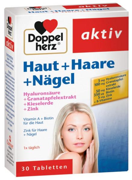 doble corazón piel + cabello + uñas, hialuron + sílice + zinc, 30 comprimidos