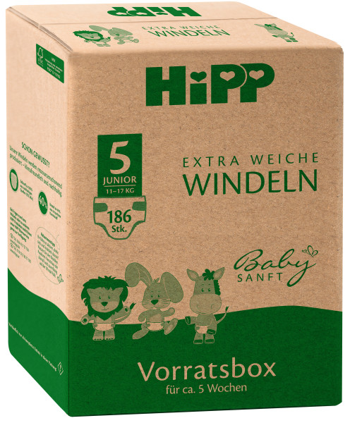 Hipp baby soft extra soft diapers Junior 5 storage box, size 86-104, 11-17kg, 3x62 diapers