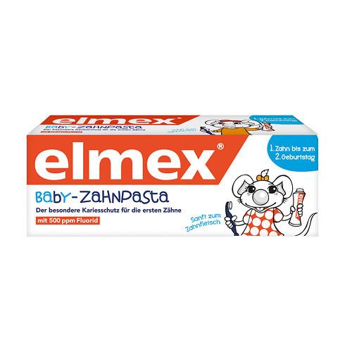 Pasta de dientes para bebés Elmex desde el primer diente hasta el segundo cumpleaños, 20 ml.
