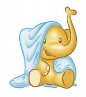 L'éléphant hippopotame s'assoit sur une couverture