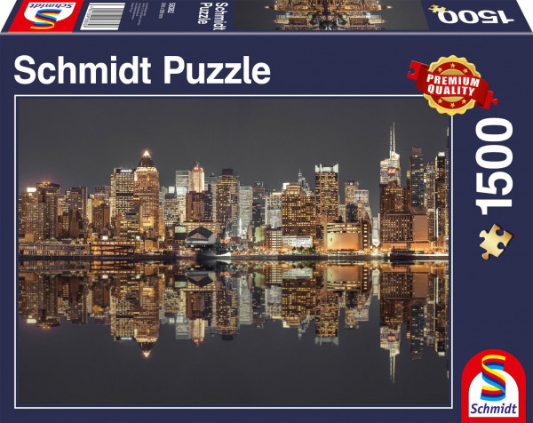 "Premium Schmidt Puzzle ""New York Skyline at night"", 1500 pieces"