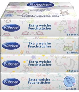 Bübchen extra soft wet wipes for sensitive skin Sensitive, 4x52 wipes