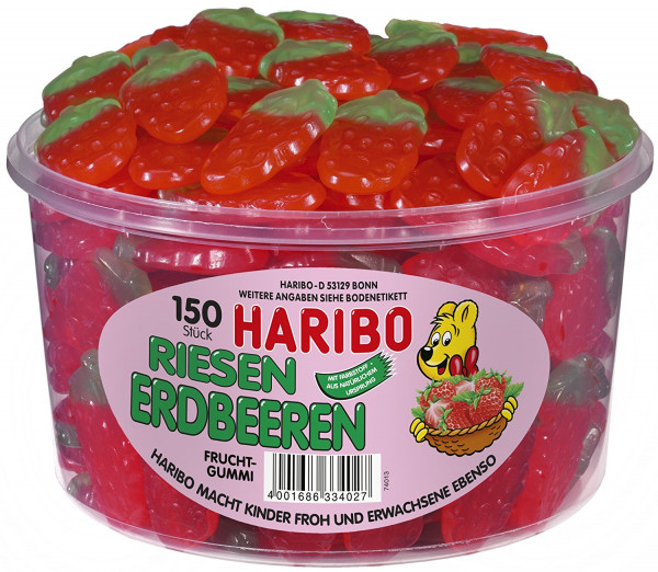 Haribo Riesen Erdbeeren Dose 150 Stück, 1350g