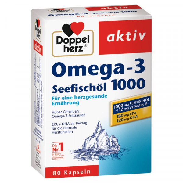 Double Heart Omega-3 Sea Fish Oil 1000mg 80 Capsulas