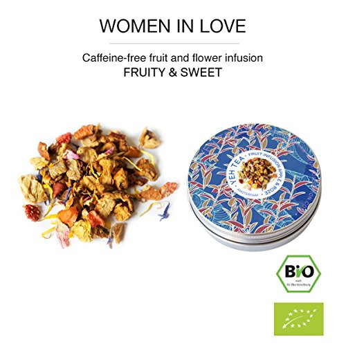 """""""Women in Love"""", 25g tin organic fruit tea flavoured with rose blossoms"""