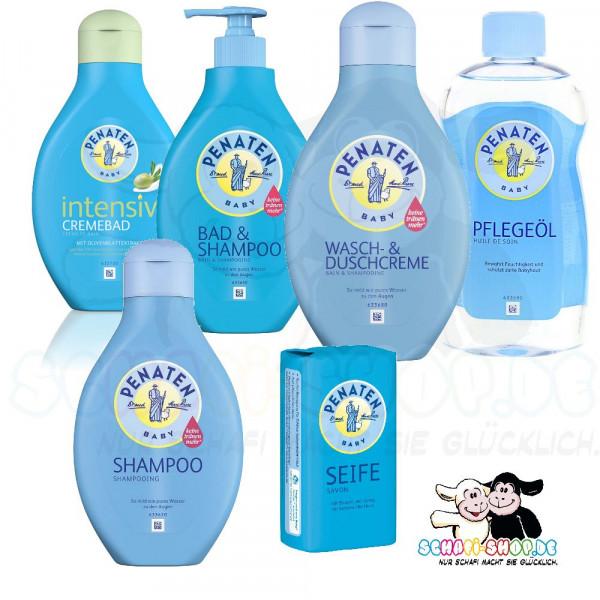 Ensemble de lavage et de douche Penaten : crème, bain&shampooing, shampooing extra doux, bain crème, huile de soin, savon