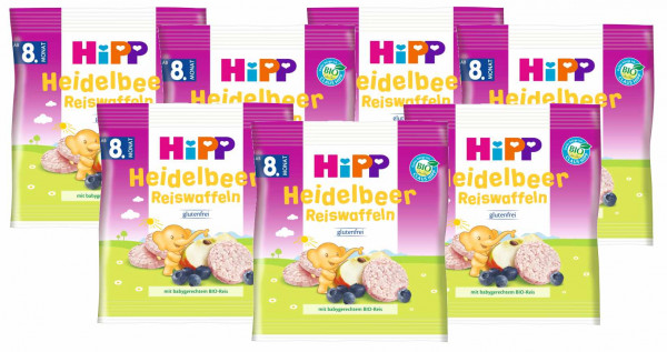 Hipp organic blueberry rice wafers 30g, 7-pack (7x30g)