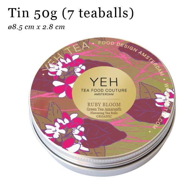 """""""Fleur de rubis, thé vert en boîte de 50g aromatisé à la fleur d'amarante."""