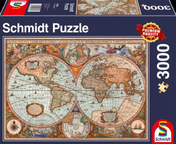 """Puzzle Premium Schmidt """"Carte du monde ancienne"""", 3000 pièces"""