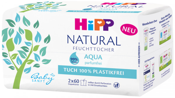 Hipp baby soft wet wipes Natural Aqua 2 x 60 wet wipes
