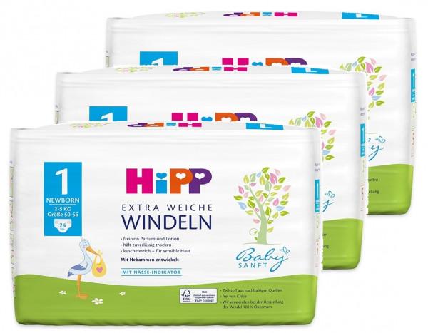 Hipp Babysanft extra weiche Windeln Newborn 1, Größe 50-56, 2-5kg, 3x24 Windeln