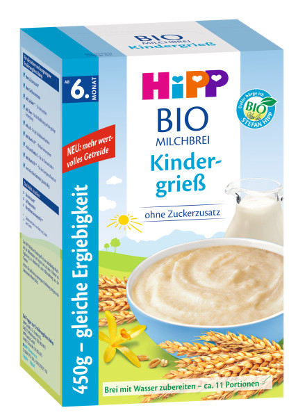 Hipp organic milk porridge children's semolina from the 6th month, 450g