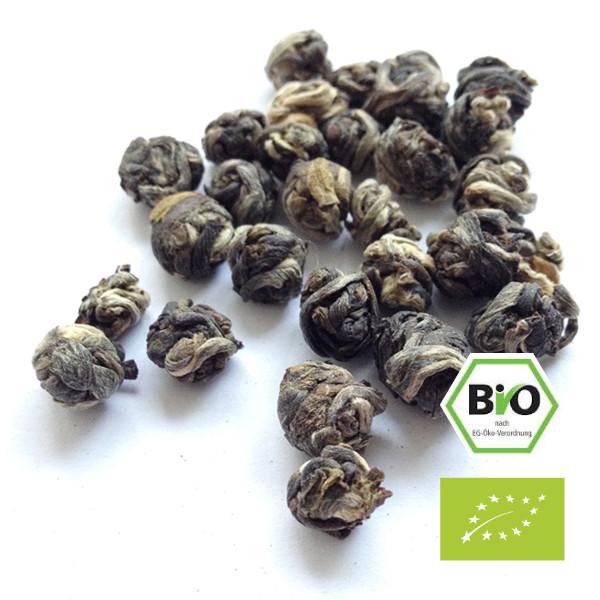 Perles de jasmin, boîte de 40g de thé vert chinois biologique biologique aromatisé à la fleur de jasmin