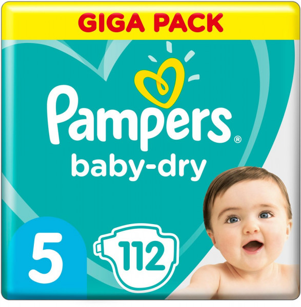 Pampers BabyDry talla 5 (Junior) Giga-Pack 11-16kg, 112 pañales