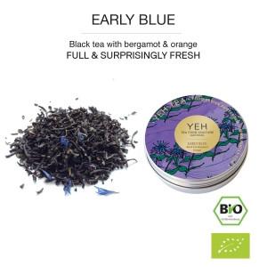 Early Blue, boîte de 30g de thé noir bio Earl Grey