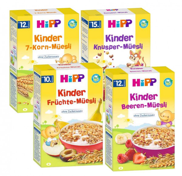 Hipp kids muesli mix, consisting of 7-grain, crispy, fruit and berry muesli, 4x200g