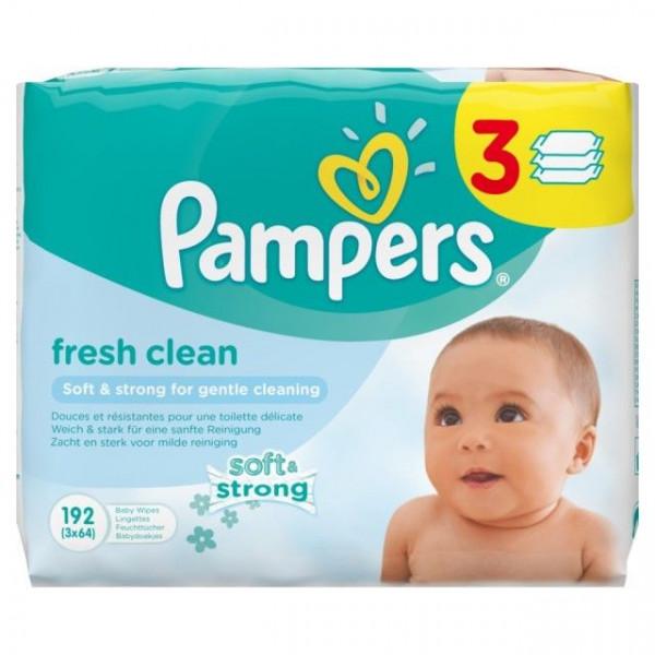 Pampers Fresh Clean Feuchte Tücher, 3x64 Tücher