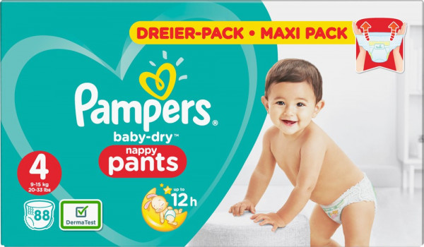 Pampers 帮宝适Baby-Dry超薄干爽 尺寸3,4-9公斤, 90片