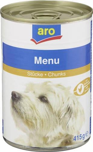 ARO Hundefutter Menü Geflügel, 415g Dose