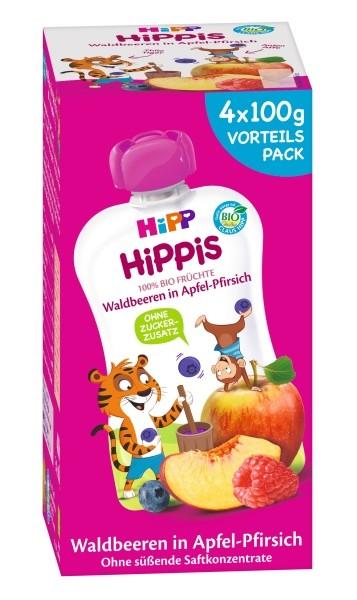 Hipp Hippis - Thilo Tiger Quetschbeutel Waldbeeren in Apfel-Pfirsich 4 x 100g